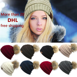 Wholesale Cute Christmas Hats - 2017 Europe and the United States women new CC standard wool sweater warm knitted hat cute care hair hat outdoor warm Couple hat