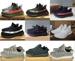Wholesale Shoes Stripes - 2017 SPLY-350 Boost V2 New Kanye West Boost 350 V2 SPLY Running Shoes Grey Orange Stripes Zebra Bred Black Red white orange 10 Color