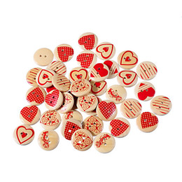 Wholesale Decorative Sewing Buttons - Hot Sale 500PCs 20mm Heart Wooden Buttons Mixed Heart Pattern Decorative Buttons 2-Holes Fit Sewing Scrapbooking Craft DIYTY2173