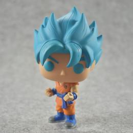 Wholesale Dragon Ball Son Goku - New hot sale Q version FUNKO Pop new Dragon Ball Z blue Super Saint Seiya Goku Son Gokou Boxed PVC Collection 10CM
