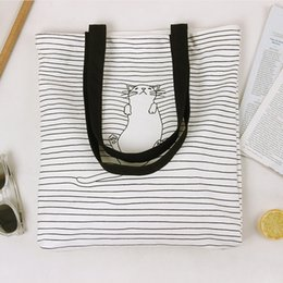 Wholesale Halloween Cat Art - new hand made original nap cat stripe print canvas bag girls women shoulder bag art personality travel beach bag