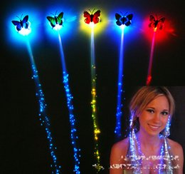 Wholesale glow hair - 5 Color Colorful Butterfly Luminous Braids Flash Night Lights Braid Luminous Light Up led hair extensions Party Hair Glow By Fiber toys B