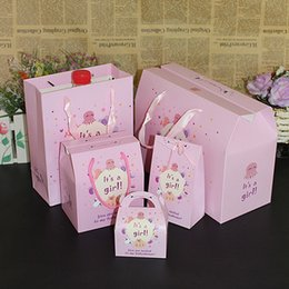 Wholesale Recycle Designs - Carton Baby Girl Gift Bags With Handle Birthday Party Supplies Mult size Decoration Lovely Design Style 6pcs set