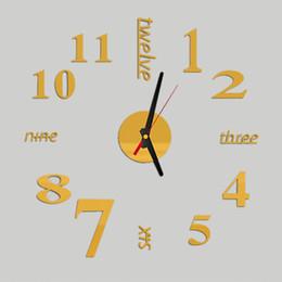 Wholesale Wall Clock Diy Numbers - Wholesale- 3D DIY Sticker Decorative Wall Clocks Living Room Mirror Metal Decorative Wall Watch Big Numbers Unique Design Home clocks P20