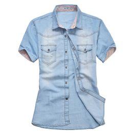 Wholesale Slim Denim Shirt - Wholesale- Men Denim Shirts Short Sleeve Slim Fit Casual Mens Cowboy Shirts Fashion Summer Camisa Jeans Masculina Plus Size
