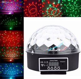 Wholesale Led Mini Strobe - New Arrival Mini Voice-activated Disco DJ Stage Lighting LED RGB Crystal Magic Ball 6CH DMX 512 light 20W KTV Party 20pcs lot Freeshiping