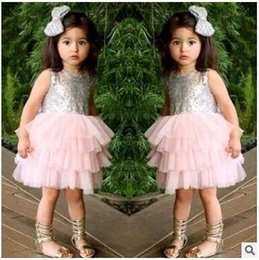 Wholesale Party Dress Kids Girl Bowknot - Bowknot Infant Dress Flower Sequined Baby Girls Dress Princess Tutu Cake Dresses Hollow out Kids Party Dresses