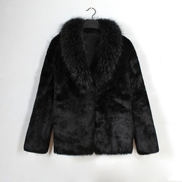 casacos de pele falsa formal Desconto New Black Faux Casaco De Pele Para Homens Fur Xale Gola Manga Longa Casacos de Inverno Casuais Partido Formal Outwear Presente de Natal Para Ele CJG1037