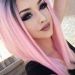 Wholesale Pink Medium Wig - 1b Pink Wigs Two Tone Ombre Human Hair Wig Full Lace Human Hair Wigs For Black Women Ombre Lace Front Human Hair Wigs