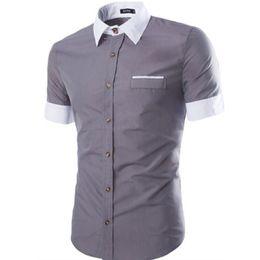 Wholesale Hawaiian Yellow - Wholesale- Brand 2016 Fashion Male Hawaiian Shirt Short-Sleeves Tops High Quality Solid Color New Mens Dress Shirts Slim Men Shirt 2XL DFG