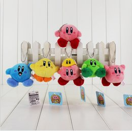Wholesale Wholesale Plush Toys Keychains - Super mario plush toy Lovely Kirby Stuffed Plush Pendants keychains Soft Toys 6pcs 7cm Free shipping
