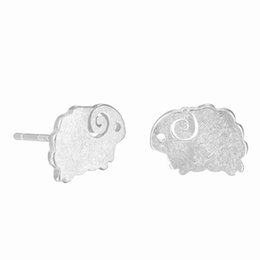 Wholesale Brass Sheep - 5 pairs lot 925 Sterling Silver Earrings For Women Cute Small Sheep Stud Earrings Girl Sterling-silver-jewelry Prevent Allergy