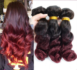 Wholesale Brazilian Loose Wave 3pcs - Brazilian Burgundy Ombre Hair Weave Bundles Loose Wave Wine Red Ombre Hair Wefts 2Tone 1B 99J Ombre Virgin Human Hair Extensions 3Pcs Lot