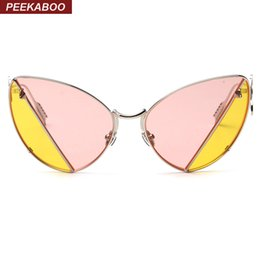 Wholesale Sexy Lens - Wholesale- Peekaboo Fashion retro metal frame sexy cat eye sunglasses for party vintage two tone sunglasses pink yellow tinted lens oculos