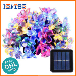 Wholesale Blossom Cards - DHL Solar String Lights 50 Led Blossom Flower Fairy Light Christmas Lights for Outdoor LED Garland Patio Party Wedding Decoration
