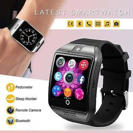 Wholesale Black Kids Mp3 - NFC Bluetooth Smart Watch Q18 With Camera FM Facebook SMS MP3 Smartwatch Support Sim Card For IOS Android Phone
