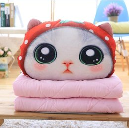 Wholesale Dog Plush Blankets - 0709 HANCHENEXP Big Eyes Cuddly Cat Pussy Plush Cushion with Blanket Pink and Gray Summer Children Blanket Car Traveling Kids Blanket