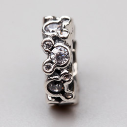 Wholesale Silver 925 Spacer Bead - Cartoon Spacer Charms Beads Original 925 Sterling-Silver-Jewelry Clear CZ Micro Pave Charm Stopper Bead DIY Brand Logo Bracelet Accessories