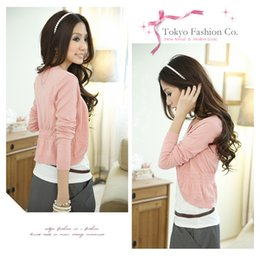 Wholesale Sweet Candy Sale Shipping - Wholesale- Free shipping 2016 New Fashion Women Cardigan Sale Women Lace Sweet Candy Pure Color Slim Crochet Knitted Blouse Sweater