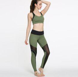 Wholesale Army Bra - 2017 new fashion army green yoga clothes zipper sports bra bra splicing yoga pants fitness yoga suit