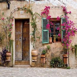 Wholesale Styles Children Photos - Old House Wooden Door Purple Flowers Vinyl Backdrops for Photography Rustic Style Outdoor Wedding Children Kids Photo Studio Background