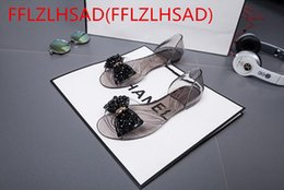 Wholesale Gold Bling Flat Sandals - New Hot Women Sandals 2017 New Summer Bling Bowtie Fashion Peep Toe Jelly Shoes Woman Crystal Flats Size Plus 35-40