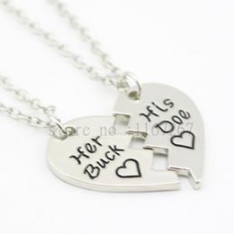 "Wholesale Buck Pendants - Wholesale-2016 New arrive broken heart necklace&chain ""Her Buck His Doe""Jewelry Country Wedding boyfriend Presents Christmas Husband Gift"