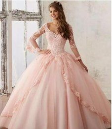 Wholesale Dresses For 15 Years - Sweet 16 Year Lace Hot Pink Quinceanera Dresses 2017 vestido debutante 15 anos Ball Gown V Neck Sheer Sleeve Prom Dress For Party
