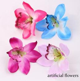 Wholesale Orchid Wedding Bouquet - Hot 12cm silk orchid flower heads Artificial Flowers for wedding holiday decoration DIY Wedding Bridal Bouquet Headwear Accessories