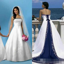 Wholesale Empire Church Wedding Dresses - Vintage White And Blue Satin Beach Wedding Dresses 2016 Strapless Embroidery Chapel Train Corset Custom Made Bridal Wedding Gowns For Church