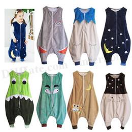 2019 pijamas de monos de invierno Niños Animal Saco de dormir Bebé Invierno Mantas Buho Monster Saco de dormir Moda Saco de dormir Rompers Pijamas Swaddle Cama Jumpsuit D394 pijamas de monos de invierno baratos
