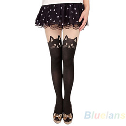 Wholesale Women Tattoo Socks - Wholesale- 2016 Sexy Women Cat Tail Gipsy Mock Knee High Hosiery Pantyhose Panty Hose Tattoo Tights Hot Selling 8OOK