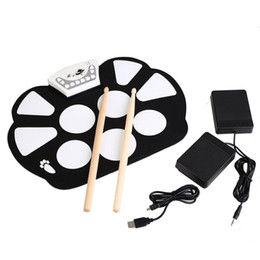 Wholesale Roll Up Drum Kit - Wholesale- Portable Electronic Roll Up Drum Pad Kit with Stick Silicon Foldable Electronic Drum USB Drum Musical Instrument
