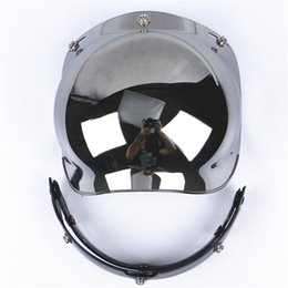 Wholesale Mask Moto - Wholesale- Universal viseira bolha 3-Snap Flip up Adjustable Lens Bubble Visor Face Shield Mask Motorcycle Helmet Moto Casco Half Helmets
