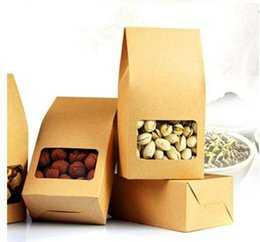 Wholesale Packaging Window Boxes - DHL 8*15.5*5cm Ecofriendly Brown Stand Up Bag Doypack Pouch With Clear Window Kraft Paper Retail Package Box For Nuts Dried Food