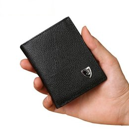 Wholesale Note Card Size - Wholesale- New Promotion Men's Wallets Slim Small Size Mini Genuine Leather wallet Credit Card Holder bag small purse for men Clutch wallet