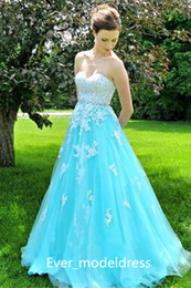 Wholesale Crytal Long Prom Dress - Newest Light Sky Blue Prom Dresses 2017 Sweetheart Beading Top Appliqued Crytal Luxury Long Evening Dresses Floor Length Custom Made