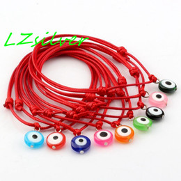 Wholesale Rope Wax - Hot Sell ! 100 pcs Red Wax Rope Mixed Color Acrylic Evil Eye Beads Charm Adjustable Bracelets