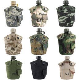 Wholesale Military Outdoor Water Bottle - 1L Outdoor US Army Military Mess Water Bottle Canteen with Cover & Aluminum Cup for Camping Cycling Hiking Climbing - 9 Color Are Available