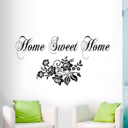 Wholesale Decorative Flowers For Kids Room - Home Sweet Home Wall Stickers Flowers Decorative Wall Decals Vinyl Adhesive Art Wall Murals For Living Room