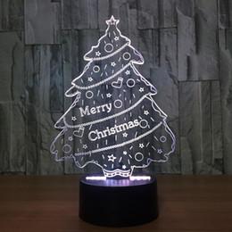 base all'ingrosso di cristallo chiara Sconti Lampada da comodino 3D Lampada da comodino Night Tree 7 Lampada da tavolo a 3 colori 3D per la luce natalizia