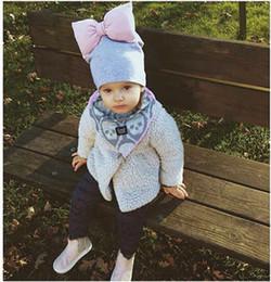 Wholesale Large Children Hats - Children Caps Ins Autumn Winter New Baby large bow Baby Hat Beanie Hat Caps kids Skull Cap Newborn Girls Hats cotton Hat Wholesale A1304