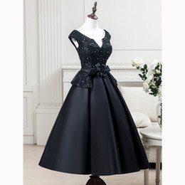 Wholesale Light Blue Women Shirts - Real Pictures Black Formal Evening Dresses Wear Short Sleeve Lace Applique Flower A-Line Tea-Length Custom Made Special Occasion for Women
