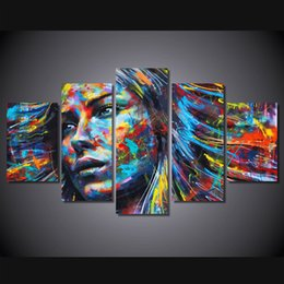 Wholesale Hair Posters - 5 Pcs Set Framed HD Printed colorful hair figure woman face posters and prints canvas art home decor framed painting