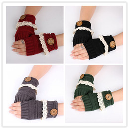 Wholesale Ladies White Gloves Wholesale - 2016 Autumn Winter Lady Knitted Fingerless Gloves Adult Weave Wrist Glooves 7 Color Hand Gloves With Buttons Lace Warmer Knitted GlovesQ0457