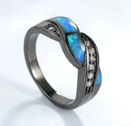 Wholesale Silver Stone Ring Tibet - New Black Gold Filled Blue Opal Stone Cross Rings Top Quality CZ Diamond Ring Weeding Jewelry JY