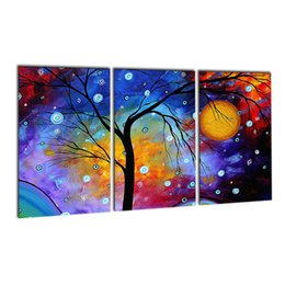 Wholesale panel artwork - 3 pcs Canvas Painting Art Oil Tree Painting Colorful Trees Painting On Canvas Home Decor Wall Artwork Abstract Wall Art Picture Prints