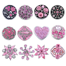Wholesale Christmas Bracelet Charms Wholesale - Kimter Snap Button Mixed Metal Rhinestone Pink Black 18mm For Noosa Bracelets DIY Variety Jewelry Charms Christmas Gift 12pcs Lot N1E