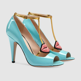 Wholesale Open Lips - 2017 Spring High Heel Shoes Woman Sexy Peep Toe T-strap Red Lip Eye Ankle Strap Gladiator Sandal High Quality Women Party Shoes