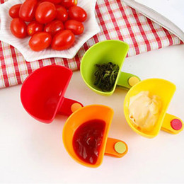 sugar bowls kitchen Promo Codes - 4 Colors Dip Clips Kitchen Bowl Kit Tool Small Dishes Spice Clip For Tomato Sauce Salt Vinegar Sugar Flavor Spices Cooking Tools